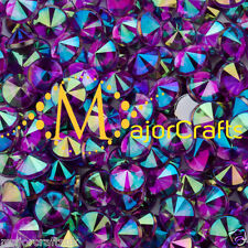 100pc Dark Purple AB 10mm ss50 Flat Back Pointed Rivoli Acrylic Rhinestones Gems