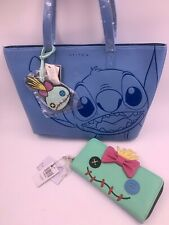 Rare Disney Loungefly Stitch Embossed Tote Purse Bag W/ Stitch Cosmetic Bag NWT
