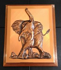 Genuine Vintage Copper Embossed Picture of an African Elephant by Dennis Thomson