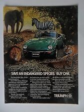 1977 Print Ad TRIUMPH Spitfire Car Automobile ~ Save an Endangered Species