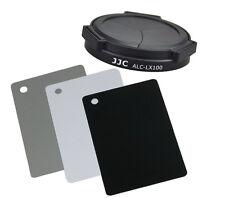 JJC Auto Lens Cap & Black White Gray White Balance Card Set for Panasonic LX100