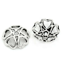 "100PCs New Metal Bead Caps Hollow Flower Silver Tone 10mmx10mm(3/8""x3/8"")"