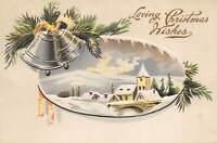 Loving Christmas Wishes 1915 Embossed Postcard Bells Snow Church Pine