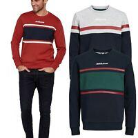 Jack & Jones Sweatshirts Mens Slim Fit Casual Long Sleeve Crew Neck Pullover Top