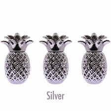PINEAPPLE JARS SILVER SET OF 3 SUGAR COFFEE BISCUIT ROMANY ORNAMENT GIFT STORAGE