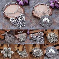 Women Tibetan Silver Beads String Tassel Pendant Necklace Vintage Jewellery Gift