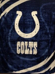 INDIANAPOLIS COLTS NFL SOFT PLUSH WARM NORTHWEST BED BLANKET FULL / QUEEN SIZE