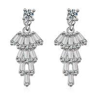 Women's Solid 925 Sterling Silver Baguette Natural Zircon Stud Dangle Earrings