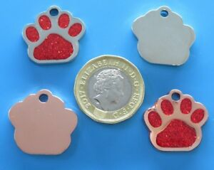 Expressions Engravers Glitter Small Paw shaped pet/dog id tag