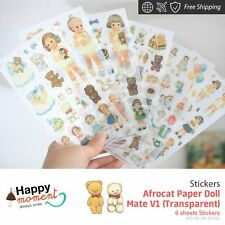 Afrocat Paper Doll Mate V1 (Transparent) Stickers Funny Happy Gifts New 6 sheets