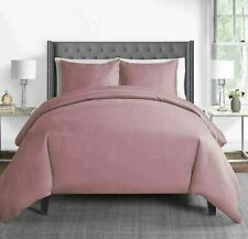 450-Thread-Count Cotton Sateen King Duvet Cover Set dusty rose NEW