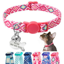 Quick Release Cat Collar Personalized Cat Puppy ID Name Tags Breakaway Pink