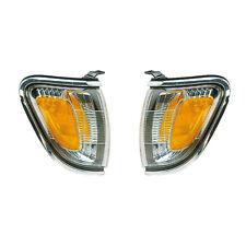 01-04 Toyota Tacoma Driver & Passenger  Side Marker Lights Chrome Bezel Pair Set