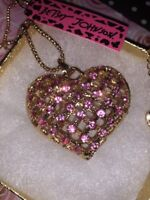 Betsey Johnson Necklace Pink Mesh Heart  GOLD CRYSTALS Love Gift Box