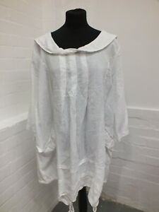 Made In Italy White Linen Tunic Dress Lagenlook Size XL  Pockets (Hol)