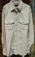 Eddie Bauer VTG Shirt Button Down Long Sleeve Thick Cotton Cream USA Sz L #E-3