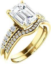 1.40 carat Emerald & Round cut Diamond Engagement 14k Yellow Gold Ring G SI1
