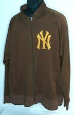VINTAGE NY YANKEES XX LARGE SWEATSHIRT ZIPPER STITCHES BROWN GOLD MLB BASEBALL