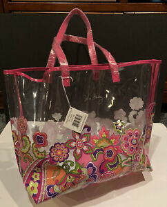 New Vera Bradley Clearly Colorful Tote Pink Swirl $58 Beach Bag Flowers  floral