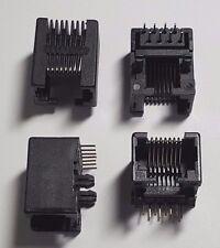 RJ45 Network Jack socket PCB - Black x 4 (2 pairs) 8-Pin Unshielded - Base Mount