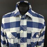 Superdry Mens THICK Shirt MEDIUM Long Sleeve Blue Slim Fit Lumberjack Cotton