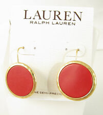 Ralph Lauren Gold Tone Bright Coral Stone Disc Drop Earrings NEW