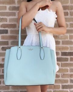 Kate Spade Monet Large Triple Compartment Tote Cloud Mist Turquoise Leather