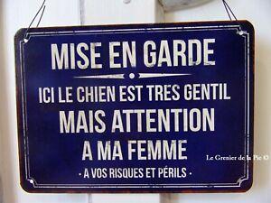 plaque en métal humoristique ATTENTION A MA FEMME style vintage 21x15cm sign
