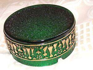 Beautiful vintage ash tray green Vintage glass ashtray gold gilded Gorgeous