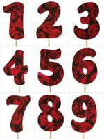 "ROSES Print Design Birthday NUMBER Cake Topper 5.5"" Tall Choose Number"