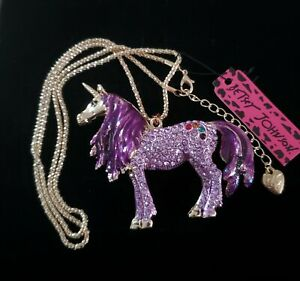 "Betsey Johnson Lavender Rhinestone & Purple Enamel Unicorn 28"" Necklace **NWT**"