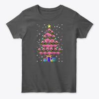 Funny Pink Flamingo Christmas Tree Gildan Women's Tee T-Shirt