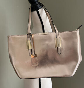 Aldo Rose Gold Patent Leather Purse Gold Accents
