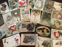 Vintage Mixed Lot of 25 Holidays & Greetings Postcards-Antique- ~in Sleeves-b-30