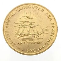 1970 Vancouver Sea Festival HMS Discovery Gold Plated Trade Dollar Token L871