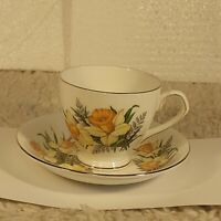 Vintage Elizabethan Taylor & Kent Fine Bone China Floral Tea Cup Saucer England