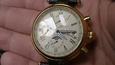 steinhausen automatic mens watch date dial new clean strap skeleton back nice!