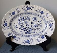 """J. & G. Meakin Classic ~ """"Blue Nordic"""" ~ 12"""" OVAL SERVING PLATTER ~ Ironstone"""