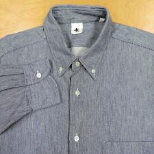 Rare ADAM KIMMEL Blue & White Woven Stripe Flannel Btn Down Shirt Lrg Italy EUC