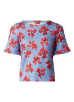 Hugo Boss Namilla Jersey Top Floral Print Tulip Sleeves Blouse  New £119 Small S