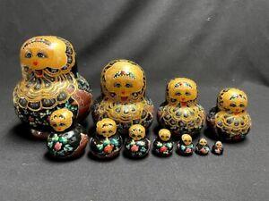 Matryoshka Dolls Nesting Russian Babushka Stacking Handmade Wood 11 Dolls