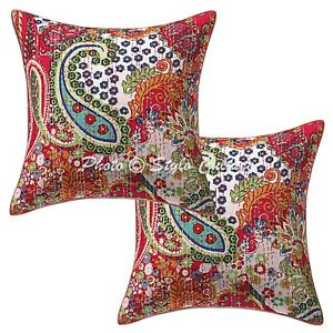 Ethnic Embroidered Throw Pillow Covers Pink 16x16 Kantha Paisley Cushion Covers