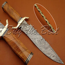 Beautiful Custom Hand Made Damascus Steel Hunting Bowie Knife Handle Olive Wood