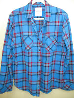 Mens Aeropostale thick flannel button shirt XL deep turquoise plaid preowned