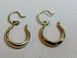 Vintage 9ct 375 Gold Diamond cut Gypsy Creole Earrings Not Scrap
