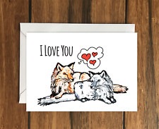 I love you Foxes greeting card A6