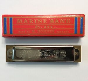 VINTAGE 1960s HOHNER MARINE BAND HARMONICA NO 364 GERMANY G KEY USED W/BOX