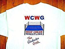 WHIP CREAM WRESTLING Gladiator Girls Vintage 90s BRAND NEW T Shirt XL Two Sided