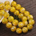 Hot 30pcs 10mm Round Charms Loose Spacer Glass Beads Findings Yolk Yellow