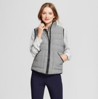 A New Day Women's Black Herringbone Quilted Lined Puffer Vest - Large / X-Large